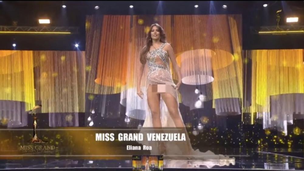 'Bung luạ' quá tay, đối thủ Ngọc Thảo để lộ hết vùng nhạy cảm trên sóng Miss Grand International Ảnh 3