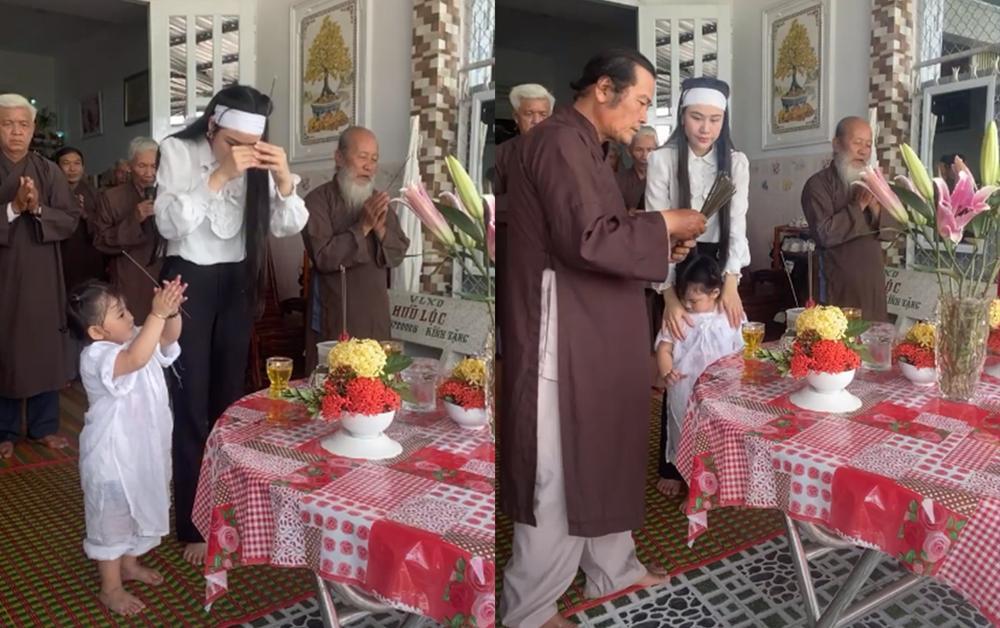 Linh Lan cúng 100 ngày cho Vân Quang Long: Hình ảnh con gái nhỏ quỳ thắp hương cho bố khiến fan xót xa Ảnh 2