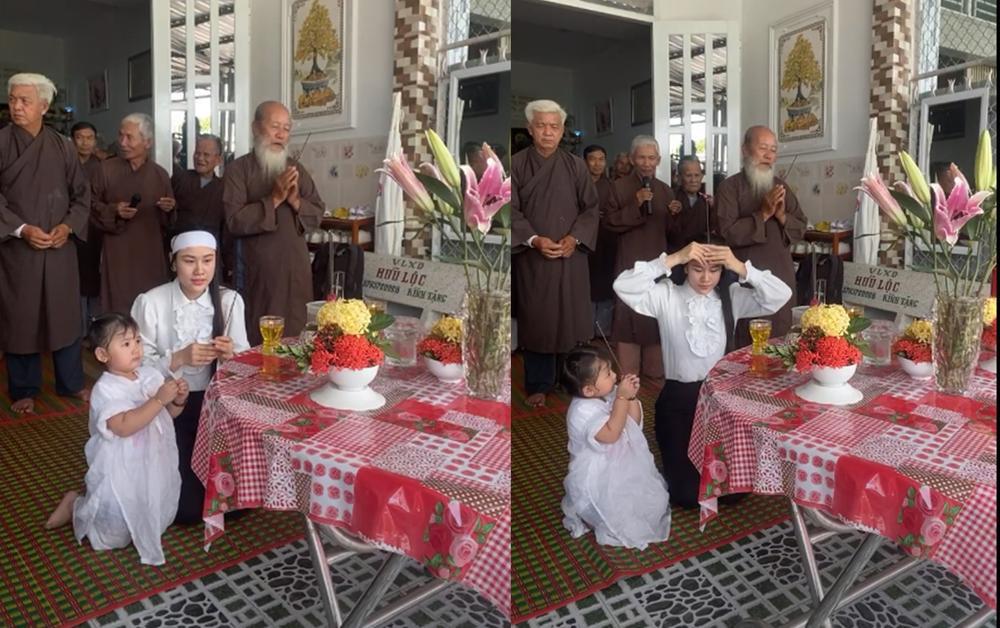 Linh Lan cúng 100 ngày cho Vân Quang Long: Hình ảnh con gái nhỏ quỳ thắp hương cho bố khiến fan xót xa Ảnh 3