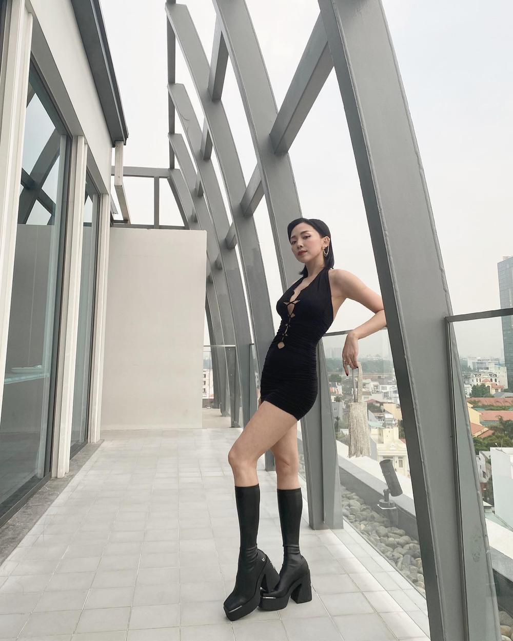 Tóc Tiên khoe khéo vóc dáng trong mơ với bodysuit đan dây chéo ngực Ảnh 4