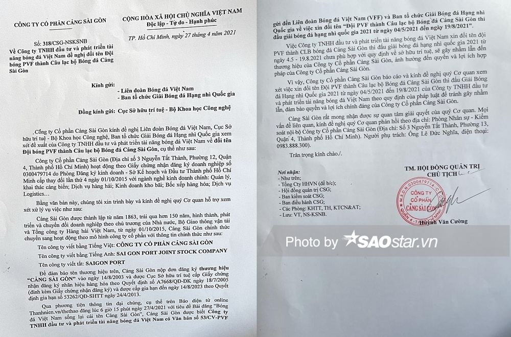 Công ty Cổ phần Cảng Sài Gòn gửi đơn lên VFF về chuyện U19 PVF muốn đổi tên thành đội Cảng Sài Gòn Ảnh 1