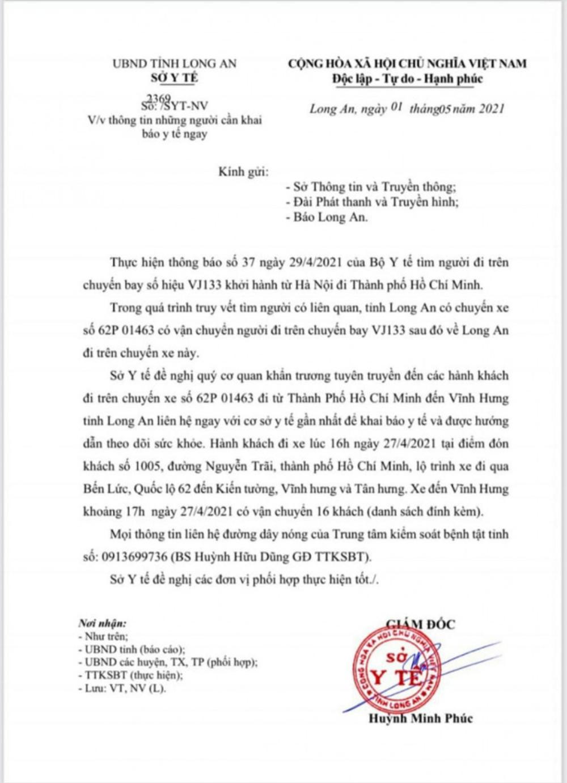 Long An khẩn cấp tìm 16 người liên quan BN 2910 mắc COVID-19 Ảnh 1