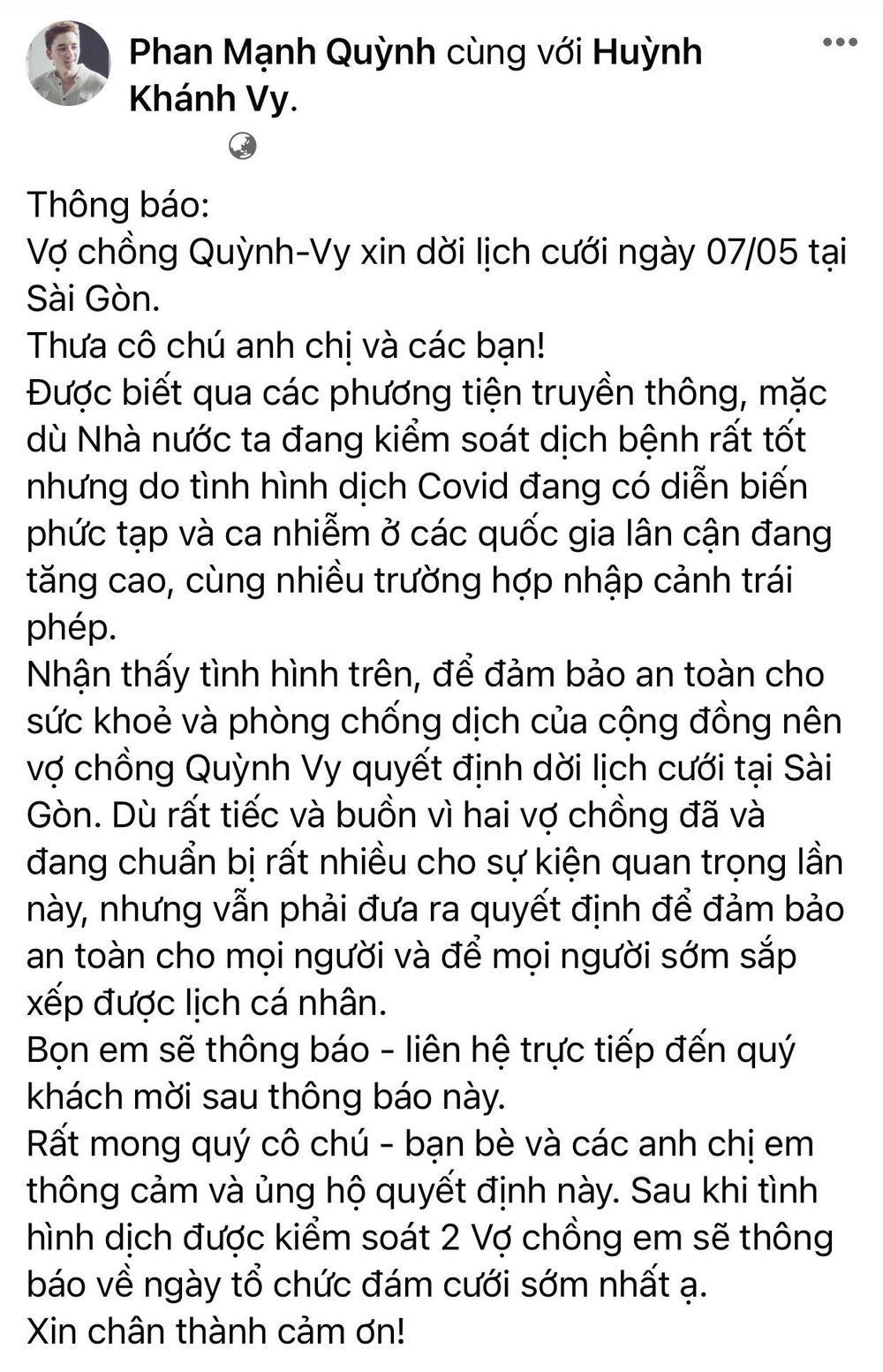 saostar el9c0qams5v3bxay Phan Mạnh Quỳnh hoãn đám cưới ở Sài Gòn vì dịch Covid 19