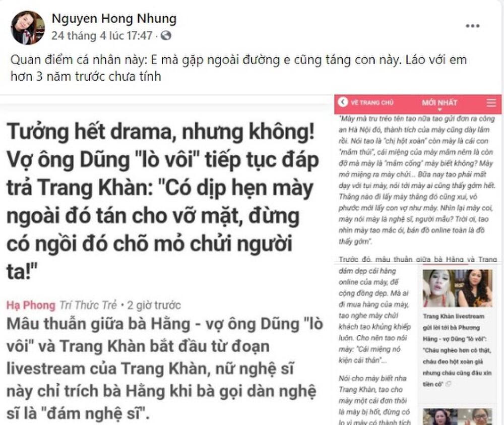 Bị vợ nghệ sĩ Xuân Bắc 'đòi táng nếu gặp', Trang Trần gay gắt mỉa mai nhan sắc và thách táng tay đôi Ảnh 2
