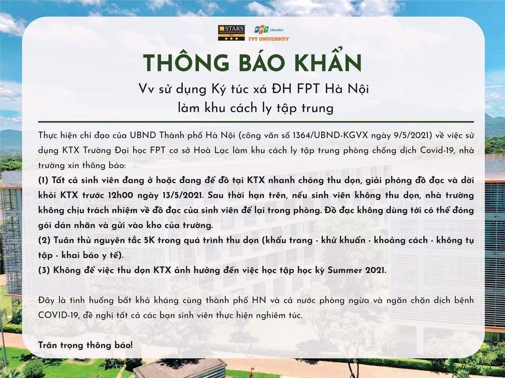 ĐH FPT Hà Nội ra thông báo khẩn cho sinh viên thu dọn đồ đạc và khỏi KTX để làm khu cách ly tập trung Ảnh 1