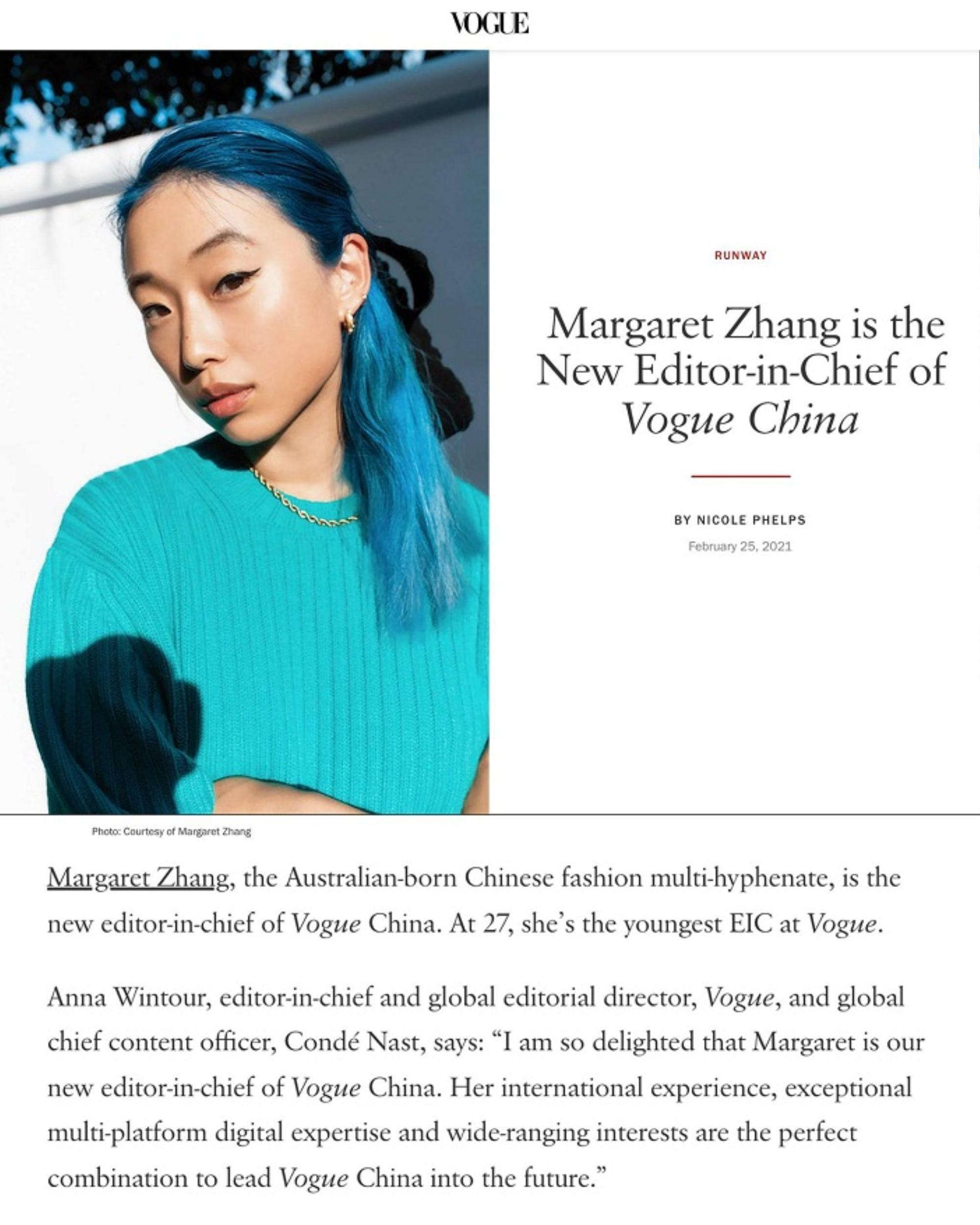 Chân dung Margaret Zhang - Tổng biên tập trẻ tuổi nhất của lịch sử tạp chí Vogue lẫy lừng Ảnh 13