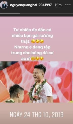 Quang Hải nhanh chóng phủ nhận tin đồn tình ái, hiện đang tập trung cho bóng đá