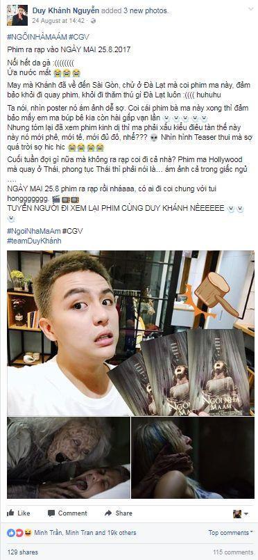 Duy Khánh cũng phải hoảng sợ khi xem trailer Ghost House và nhanh chóng chia sẻ thông tin này đến fan của anh.