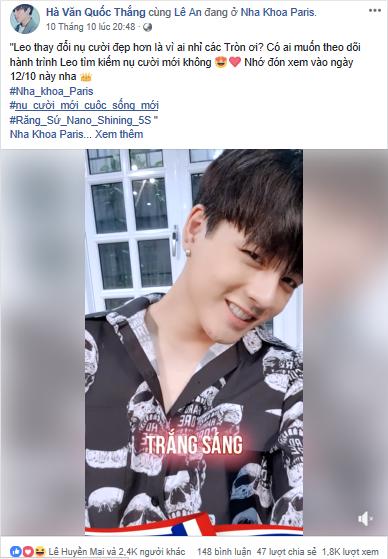 Leo nhận được khá nhiều lời khen từ fan khi đăng video selfie sau khi làm răng trên facebook.