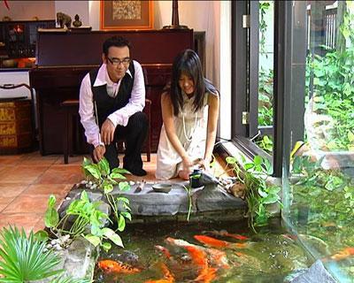 Trong căn biệt thự phong cách Bắc Bộ xưa của Hồng Nhung cũng có một hồ cá nhỏ nuôi rất nhiều loại cá cảnh.
