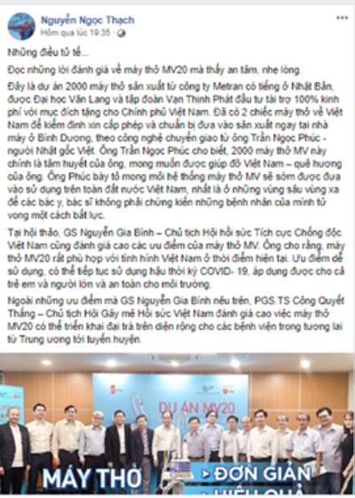 Nhà văn Nguyễn Ngọc Thạch bày tỏ niềm tự hào về máy thở MV20, vũ khí lợi hại giúp Việt Nam chống dịch COVID-19 ảnh 1