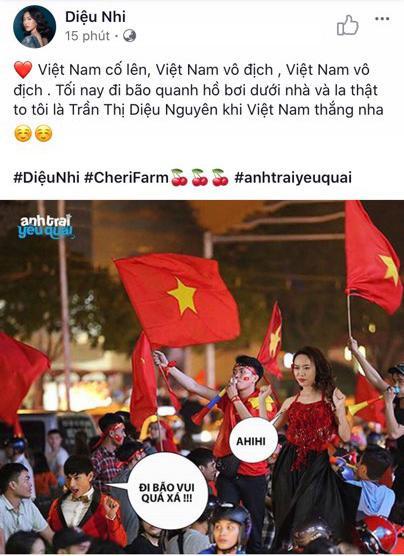 Thầy trò Noo Phước Thịnh  Ngọc Ánh ủng hộ U22 Việt Nam, Diệu Nhi  Kaity Nguyễn hòa cùng sắc đỏ chung kết SEA Games 30 ảnh 2
