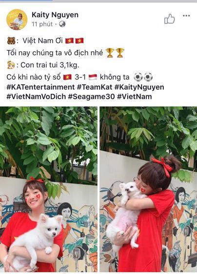 Thầy trò Noo Phước Thịnh  Ngọc Ánh ủng hộ U22 Việt Nam, Diệu Nhi  Kaity Nguyễn hòa cùng sắc đỏ chung kết SEA Games 30 ảnh 3