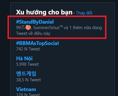 Hashtag fan dành để cổ vũ Daniel.