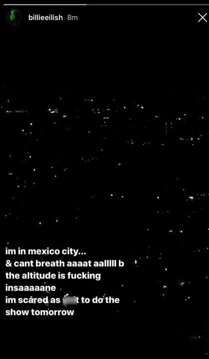 Tôi đang ở thành phố Mexico và không thể thở được tí nào cả vì cái độ cao này thật quá điên rồ. Thật đáng sợ cho show diễn ngày mai.