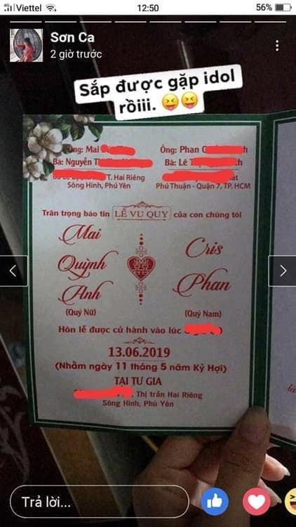 Thiệp cưới bị lộ trên Facebook.