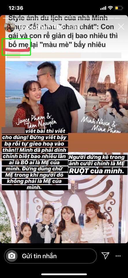 Joyce Phạm bày tỏ bức xúc về mối quan hệ với Mina Phạm trên story cá nhân