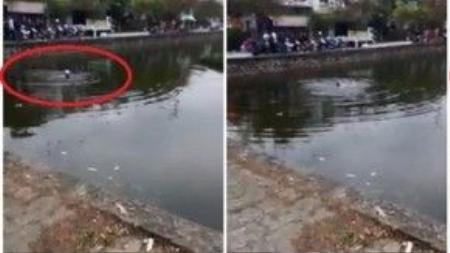 Nam thanh niên nhảy xuống hồ với ý định tử tự. (Ảnh cắt từ clip)