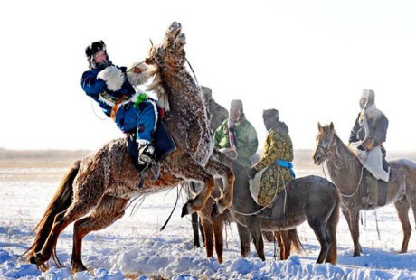 Thanh niên Mông Cổ thể hiện tài cưỡi ngựa của bản thân.