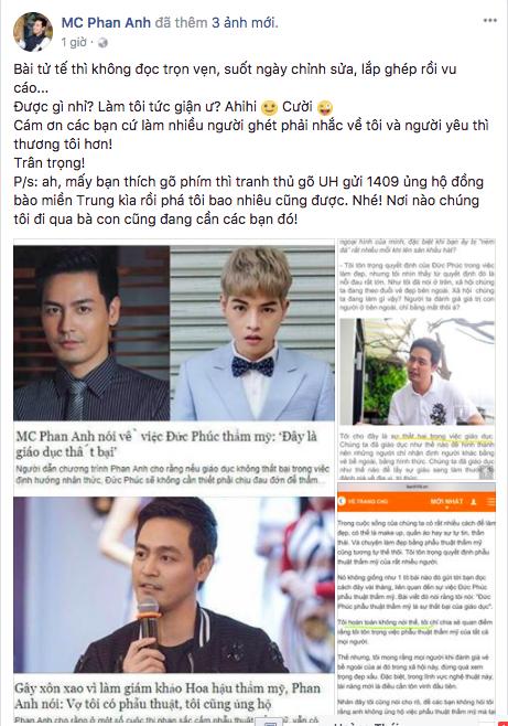 Dòng trạng thái đáp trả của MC Phan Anh.