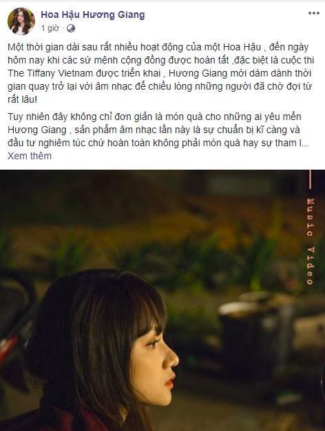 Trạng thái mới nhất của Hoa hậu Hương Giang trên trang cá nhân.