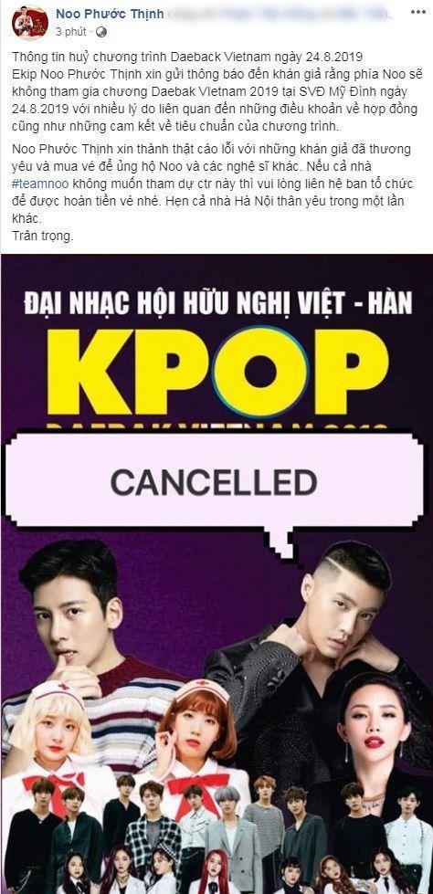 Ngay sau đó, Noo Phước Thịnh là nghệ sĩ Việt Nam tiếp theo rút tên khỏi dàn line-up của chương trình.