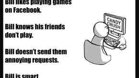 """""""Đây là Bill. Bill thích chơi game trên Facebook. Bill biết bạn mình không chơi. Bill không gửi họ những lời mời phiền toái. Bill rất thông minh. Hãy như Bill""""."""