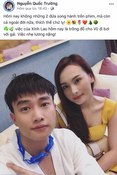 Đầu tiên là Quốc Trường đăng ảnh cùng Bảo Thanh sau quãng thời gian người Hà Nội, kẻ Sài Gòn.