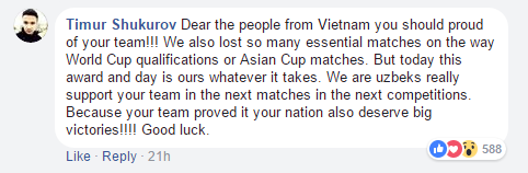 """""""Gửi các bạn tại Việt Nam. Các bạn nên tự hào về đội bóng của các bạn. Chúng tôi cũng đã thua rất nhiều trận đấu quan trọng trên đường tiến tới World Cup hay trong các trận đấu của AFC Cup. Nhưng hôm nay, giải thưởng này đã thuộc về chúng tôi, dù đã phải đánh đổi nhiều thứ. Chúng tôi, những người Uzbekistan luôn ủng hộ các bạn trong những trận đấu tới, ở những giải đấu khác. Các bạn đã chứng tỏ được rằng Việt Nam cũng xứng đáng những chiến thắng vĩ đại. Chúc mừng""""."""