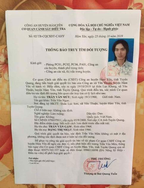 Quyết định truy tìm Trần Văn Mừu để phục vị công tác điều tra của Công an huyện Hàm Yên. Ảnh: Dân Việt