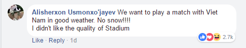 """""""Chúng tôi muốn chơi một trận với Việt Nam trong điều kiện tốt. Không tuyết! Tôi không thích chất lượng của sân vận động""""."""