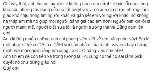 Nguyên văn dòng trạng thái của nhạc sĩ Nguyễn Văn Chung dành cho Châu Đăng Khoa.