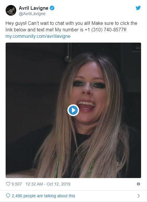 Bài đăng của nữ ca sĩ trên Twitter.