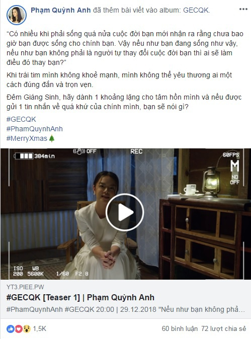 Dòng trạng thái và trailer MV #GECQK được Phạm Quỳnh Anh chia sẻ trên trang cá nhân.