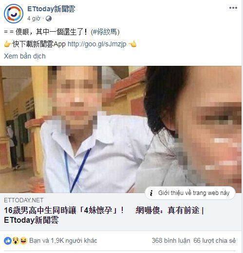 Bài viết đã thu hút gần 2 nghìn lượt thích sau 4 giờ đăng tải trên trang Facebook của tờ Ettoday.