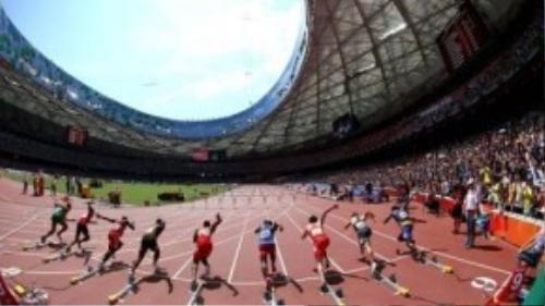 Khoảnh khắc lao về phía trước ngoạn mục của các vận động viên nam vượt rào 110m.