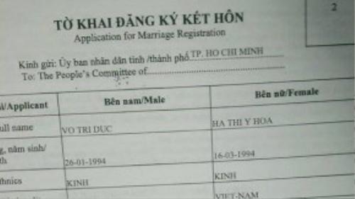 Tờ khai đăng ký kết hôn của hai người.