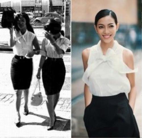 Áo sơ mi trắng cùng chân váy bút chì là combo thời trang vượt thời gian. Chiếc áo sơ mi trắng với phần cổ cách điệu buộc nơ đang khiến nhiều cô gái mê mẩn dạo gần đây đã được các dì, các mẹ diện từ hơn 40 năm trước.