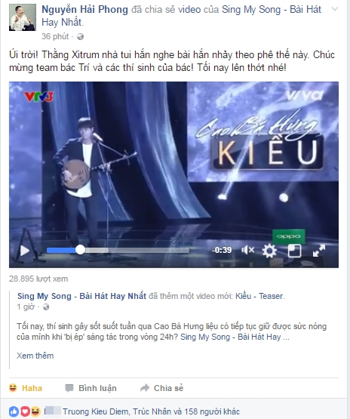 Lời bình luận hóm hỉnh của nhạc sĩ Nguyễn Hải Phong về cậu quý tử nhà mình khiến khán giả thích thú.