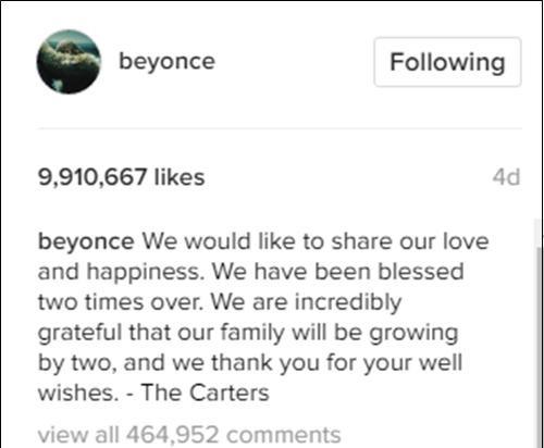 Bức ảnh mới nhất của Beyonce thu hút gần 10 triệu like và hơn 450.000 bình luận.