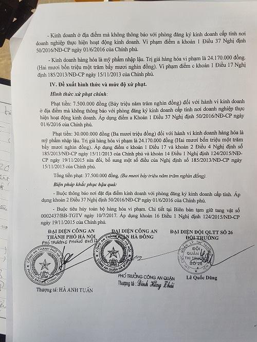 Biên bản làm việc, thống nhất xử phạt hành chính Công ty TNHH Thương mại và Dịch vụ TS Việt Nam