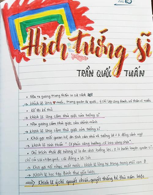 Sau khi trang trí tựa bài, Vân Anh tóm tắt nội dung bài học bằng vài gạch đầu dòng. Đây là cách khiến cô nhớ bài học lâu nhất.