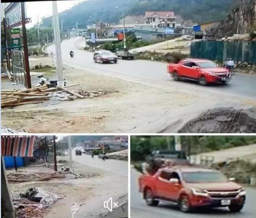 Chiếc xe bán tải màu đỏ nghi chở cây hoa hồng cổ lan truyền trên mạng xã hội.
