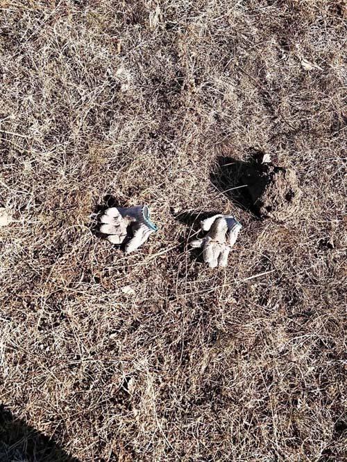 Đôi găng tay của nghi phạm để lại hiện trường.