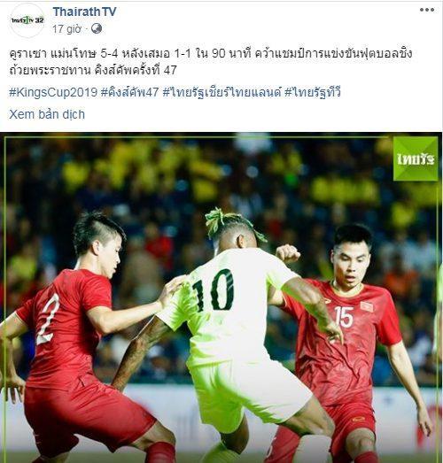 Tờ Thairath đăng tải tỷ số trận chung kết giữa tuyển Việt Nam và Curacao trên fanpage.