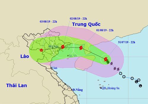 Dự báo đường đi, khu vực ảnh hưởng của cơn bão số 3. Ảnh: NCHMF