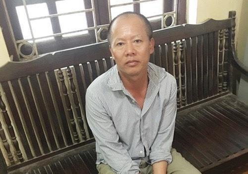 Đối tượng Nguyễn Văn Đông tại cơ quan công an.
