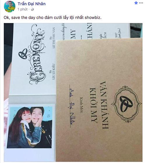 Đại Nhân khoe thiệp cưới của Khởi My - Kelvin Khánh.