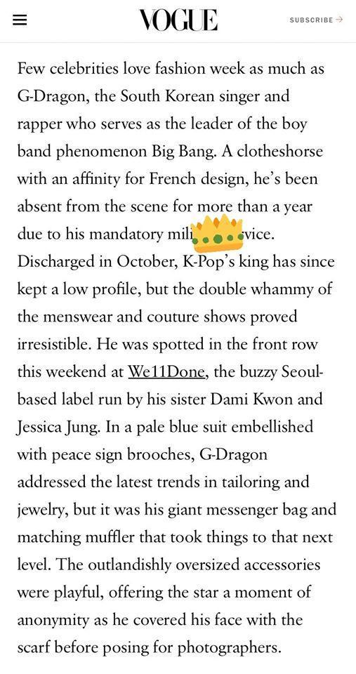 Một bài viết nói về hoạt động của G-Dragon tại Paris Fashion Week từ việc tham gia show thời trang do chị gái của anh tổ chức lần đầu tiên tại Pháp với dòng thời trang We11done
