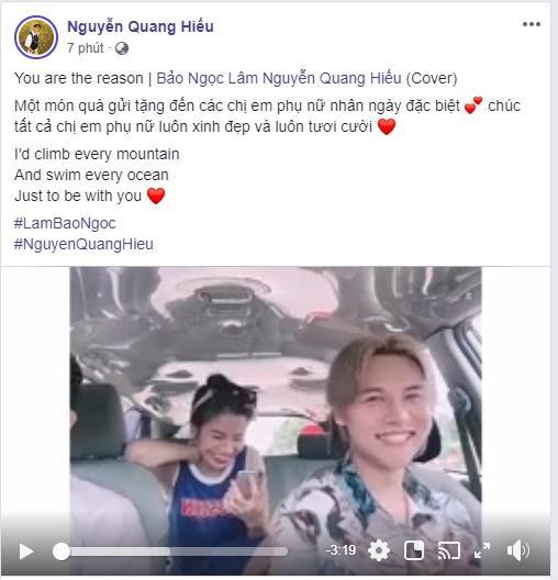 Dòng trạng thái và đoạn clip được Nguyễn Quang Hiếu - thành viên nhóm nhạc Dominix đăng tải trên trang cá nhân.